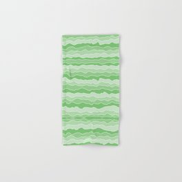 Four Shades of Green with White Squiggly Lines Hand & Bath Towel