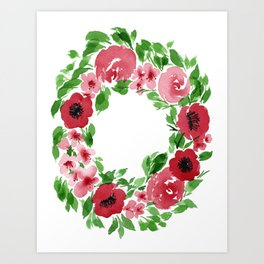 a rush of red florals Art Print