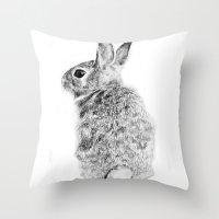rabbit Throw Pillows featuring Rabbit by Anna Shell