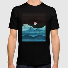 Lines in the mountains XV Black Mens Fitted Tee MEDIUM