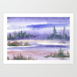 Wintery Taiga Art Print