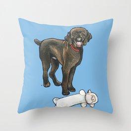 Milo the Poodle with his Monkey Throw Pillow