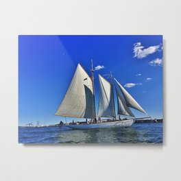 Sailboat and Bug Light in Casco Bay, Maine Metal Print
