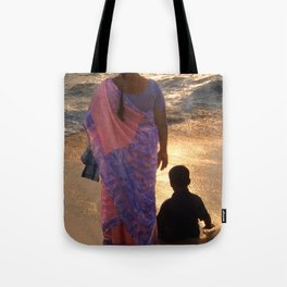 Woman in Pink and Blue Sari with Child Varkala Tote Bag