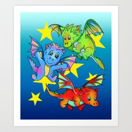 Baby dragons flying among the stars Art Print