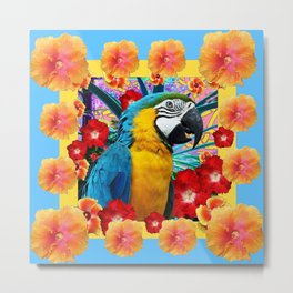 Caribbean Blue Macaw Parrot Hibiscus Flowers Metal Print