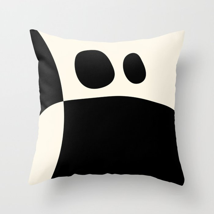 shapes black white minimal abstract art Throw Pillow