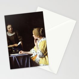 "Johannes Vermeer ""Lady with Her Maidservant Holding a Letter"" Stationery Cards"