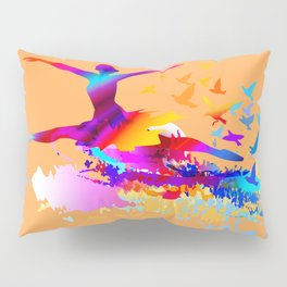 Colorful ballet dancer with flying birds Pillow Sham