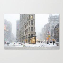 Flatiron Building in a Blizzard Canvas Print