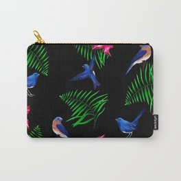 Bluebird ,tropical flowers pattern Carry-All Pouch