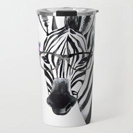 Zebra with glasses and butteflies, zebra art, nursery, baby wall art Travel Mug