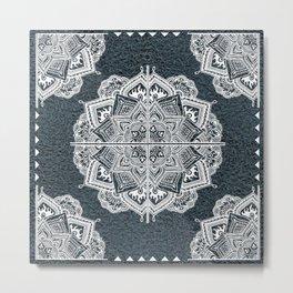 Mandala Lace Turquois Metal Print