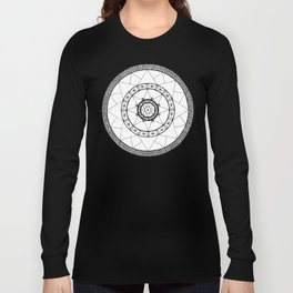 Zen Star Mandala - White Black - Square Long Sleeve T-shirt