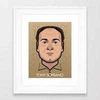 sopranos Framed Art Prints featuring Tony Soprano - The Sopranos by Mathieu Marcou
