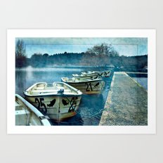 Boats in blue Art Print