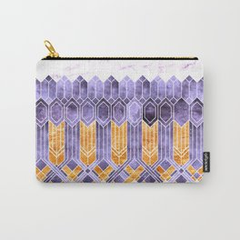 Turtle Shell Geometric   Art Deco   Purple & Gold Carry-All Pouch