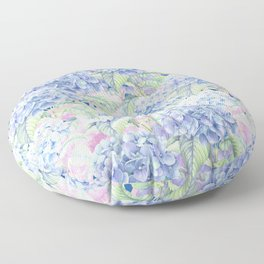 Botanical pink lavender watercolor hortensia floral Floor Pillow