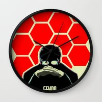 evangelion Wall Clocks featuring Gendo Ikari from Evangelion. Super Dad. by Barrett Biggers