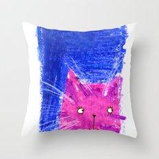 Crayon Cat Throw Pillow