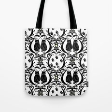 Midnight Cat Does Damask  Tote Bag