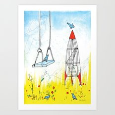 Rocket Playground, Nebraska Memory Art Print