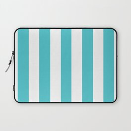 Sea Serpent turquoise - solid color - white vertical lines pattern Laptop Sleeve