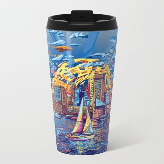 abstract city skyline-baltimore Metal Travel Mug