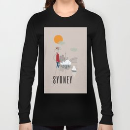 Sydney - In the City - Retro Travel Poster Design Long Sleeve T-shirt