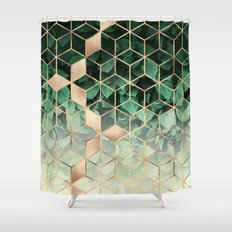 Leaves And Cubes Shower Curtain