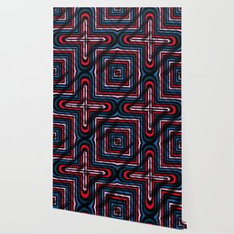 Rhombuses with cross (blue-red-black) Wallpaper
