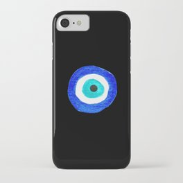 Single Evil Eye Amulet Talisman Ojo Nazar - on black iPhone Case