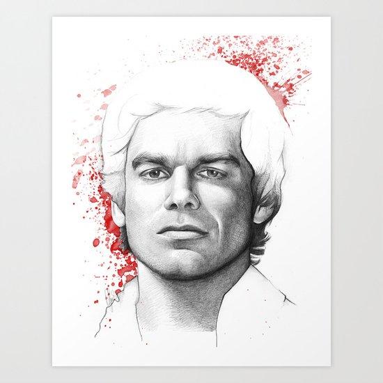 Dexter Morgan Portrait, Blood Splatters Art Print