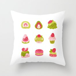 Strawberry Matcha Throw Pillow