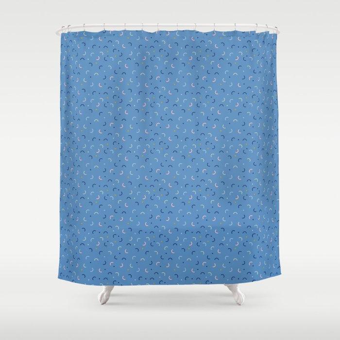 Memphis Style Blue Confetti Shower Curtain By Studio Textura
