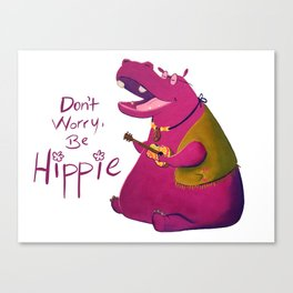 Hippie Hippo Canvas Print