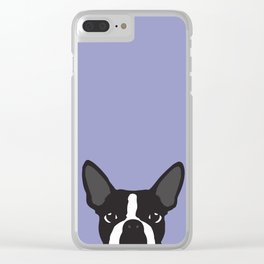 Boston Terrier Violet Clear iPhone Case