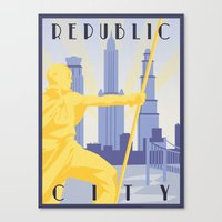 travel poster Canvas Prints featuring Republic City Travel Poster by HenryConradTaylor