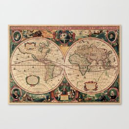 Old Map of the World Vintage  Canvas Print