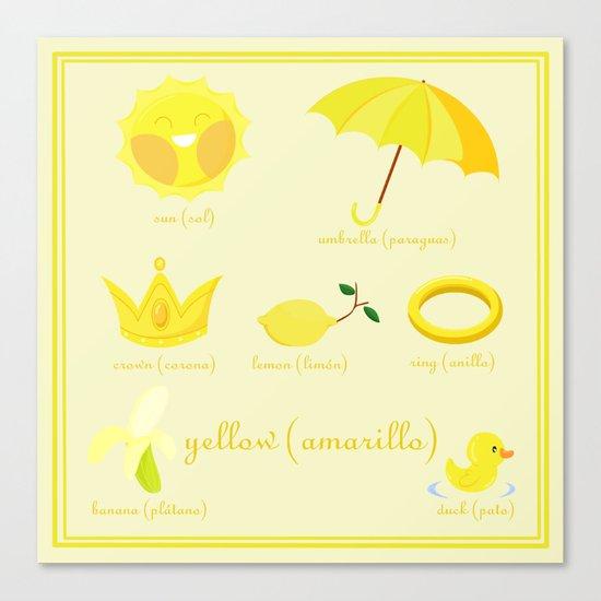 Colors: yellow (Los colores: amarillo) Canvas Print