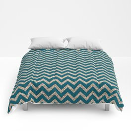 GLITTERY CHEVRON-TEAL Comforters