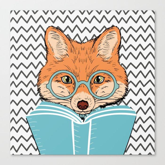 Reading Fox Canvas Print