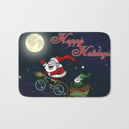 Santa on bike Bath Mat