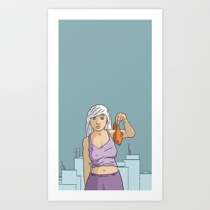 A girl holding a fish Art Print