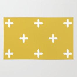 White Crosses on Gold Background Rug