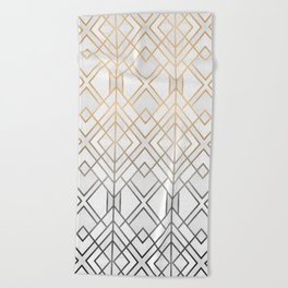 Gold And Grey Geo Beach Towel