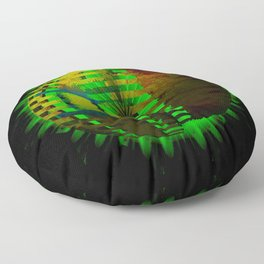 Yellow Layered Star in Green Flames Floor Pillow