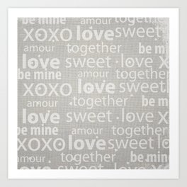 Canvas Design with Love, Sweet, Endearing Text and a Distressed  Texture Art Print