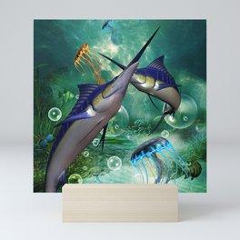 Awesome marlin with jellyfish Mini Art Print