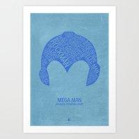 mega man Art Prints featuring Mega Man Typography by Kody Christian